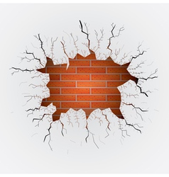 Cracked plaster with brick wall vector image vector image