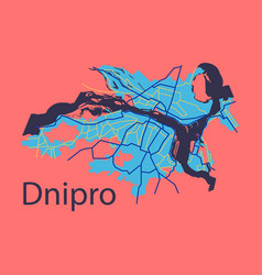 Flat icon map dnepro city vector