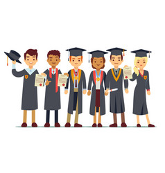 Graduation concept with students college vector