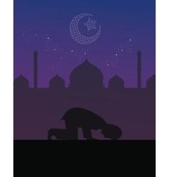 man praying night worship tahajud beautiful sky vector image