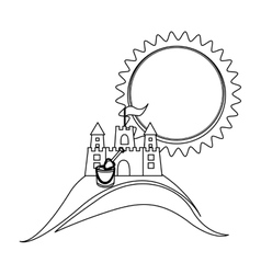 silhouette background beach with sand castle and vector image