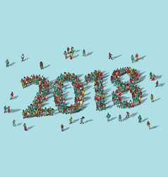 2018 happy new year card crowd big group people vector