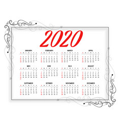 2020 new year floral style calendar design vector image