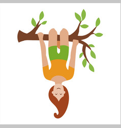 A girl hanging upside down vector