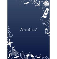 Abstract doodle nautical frame design vector