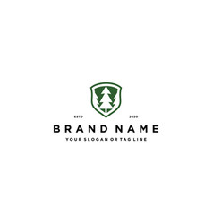 Abstract pine tree and shield logo design concept vector