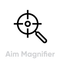 Aim magnifier targets icon editable line vector