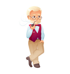 an old active man with vector image