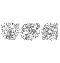 Art cartoon doodle designs set vector