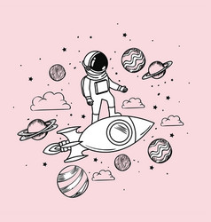 Astronaut draw with rocket and planets design vector