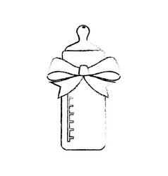 Baby bottle bow cartoon vector