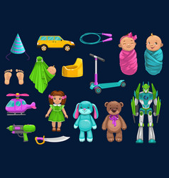 Baby toy car robot doll bear and scooter icons vector