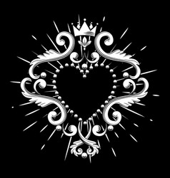 Beautiful ornamental heart with crown in white vector