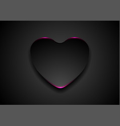 black abstract heart with purple neon light vector image