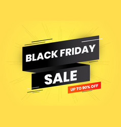 black friday sale on black ribbon and yellow vector image