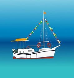Boat in a sea vector image