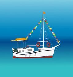 Boat in a sea vector