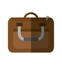 Brown suitcase business traveler handle shadow vector
