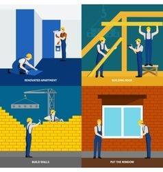 Building construction 4 flat icons square vector image