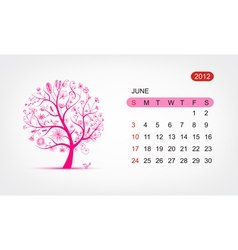 calendar 2012 june Art tree design vector image