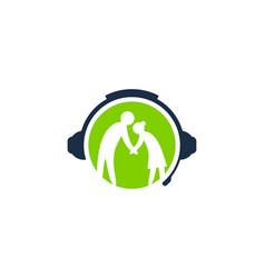 care podcast logo icon design vector image