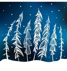 Christmas trees in snow forest vector image