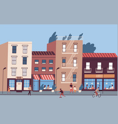 city street with people walking and sitting in vector image