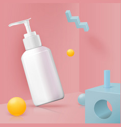 Corner wall abstract scene with pump bottle vector