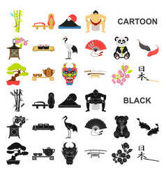 Country japan cartoon icons in set collection for vector