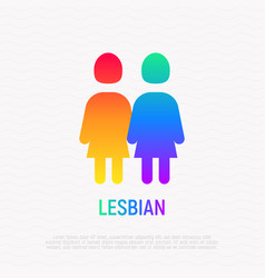 couple of lesbians holding hands each other icon vector image