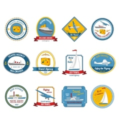 Cruise travel agency tours labels colored vector