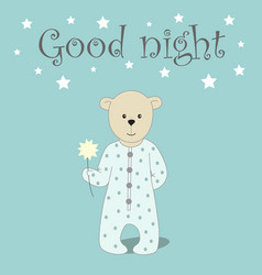 Cute card with bear vector