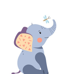 Cute elephant and dragonfly poster for baby room vector