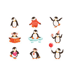 Cute little penguin cartoon characters set for vector