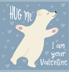 cute valentines day card with polar bear vector image