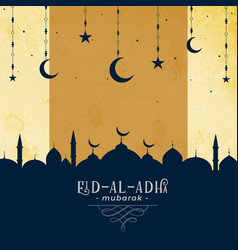 eid al adha greeting with mosque and moon star vector image