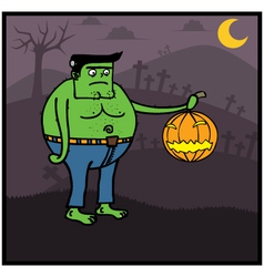 Fat Zombie holding pumpkin vector image
