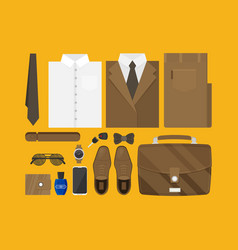 flat business collection dress and accessories set vector image