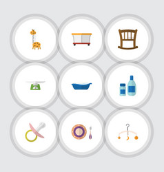 flat icon baby set of nipple playground children vector image