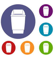 Flip lid bin icons set vector