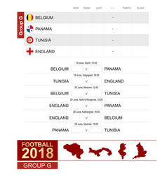 football 2018 group g match schedule all vector image