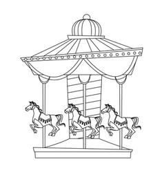 Funfair circus carousel horse canival vector