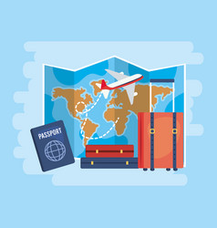 global map with airplane and travel baggage vector image
