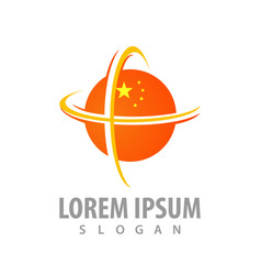 global sphere orange with star concept design vector image