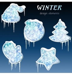 glossy winter icons with icicles vector image