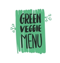 Green veggie menu hand written inscription vector