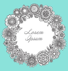 Greeting card template with hand drawn floral vector image