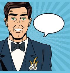 groom pop art cartoon internet security baniking vector image