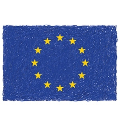 Hand drawn of flag of European union vector