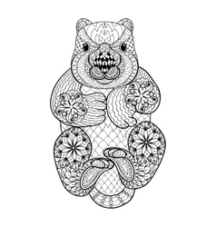 Hand drawn tribal Wombat animal totem for adult vector